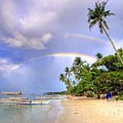 Double Rainbow At The Beach Art Print by Yhun Suarez
