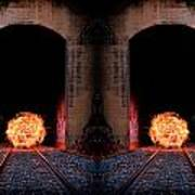Double Tunnel On Fire Art Print