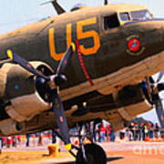Douglas C47 Skytrain Military Aircraft . Painterly Style . 7d15774 Art Print by Wingsdomain Art and Photography