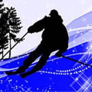 Downhill On The Ski Slope  Art Print
