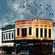 Downtown Bryan Texas Panorama 5 To 1 Art Print
