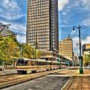 Downtown Buffalo Metro Rail  Heading To The Erie Canal Harbor Art Print