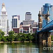 Downtown Cincinnati Skyline And Roebling Bridge Art Print