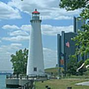 Downtown Detroit Lighthouse Art Print