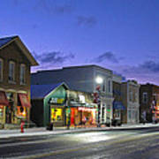 Downtown Waterville At Christmastime Art Print