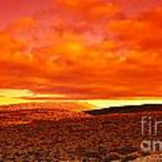 Dramatic Red Sunset At Desert Art Print by Anna Om
