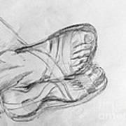 Drawing Class. Sandaled Feet Art Print