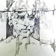 Drawing Of A Man Art Print