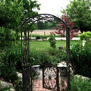 Dreamy French Garden Arbor And Gate Art Print by Kathy Fornal
