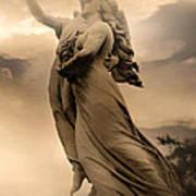 Dreamy Surreal Guardian Angels Ascent To Heaven Art Print
