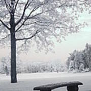 Dreamy White Blue Infrared Michigan Landscape Print by Kathy Fornal
