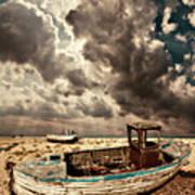 Dreamy Wrecked Wooden Fishing Boats Art Print