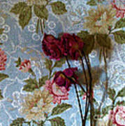 Dried Roses Against The Wallpaper Art Print