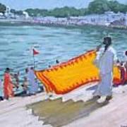 Drying Sari Pushkar  Art Print