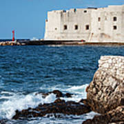 Dubrovnik Fortification And Bay Art Print