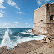 Dubrovnik Fortification And Pier Art Print