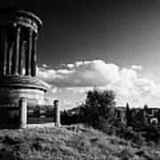 Dugald Stewart Monument Calton Hill With View Of Edinburgh Skyline Scotland Uk United Kingdom Art Print