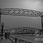 Duluth Lift Bridge Under Lightning Art Print