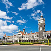 Dunedin Railway Station During A Sunny Day  Art Print