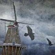 Dutch Windmill With Ravens Art Print