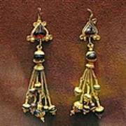 Earrings With Garnets Print by Andonis Katanos