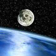 Earth And Moon Art Print by Julian Baum