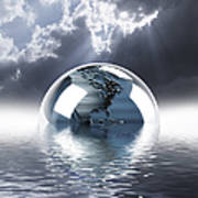 Earth Globe Reflection Art Print