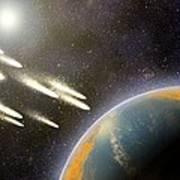 Earth's Cometary Bombardment, Artwork Art Print by Equinox Graphics