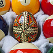 Easter Egg Among Pool Balls Art Print
