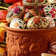 Easter Eggs In Flower Pot Art Print
