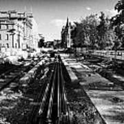Edinburghs New Tram System Under Construction In St Andrews Square Scotland Uk United Kingdom Art Print