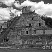 Edzna Pyramid Climber Campeche Mexico Art Print