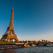 Eiffel Tower And Bridge Art Print