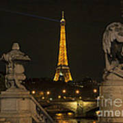 Eiffel Tower And The Seine River From Pont Alexandre At Night Art Print