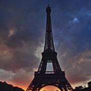 Eiffel Tower Sunset Art Print