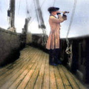 Eighteenth Century Man With Spyglass On Ship Art Print
