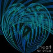 Electric Blue Heart Art Print