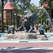 Elephant Fountain Art Print