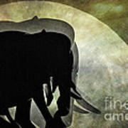 Elephants On Moonlight Walk 2 Art Print