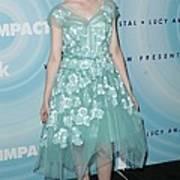 Elle Fanning Wearing A Dress By Marc Art Print by Everett