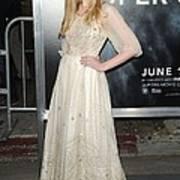 Elle Fanning Wearing A Vintage Dress Art Print