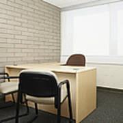 Empty Desk In An Office Art Print
