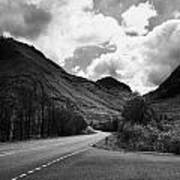 Empty Main Road Through Glencoe Highland Scotland Uk Art Print by Joe Fox