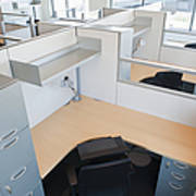 Empty Office Cubicles Art Print by Jetta Productions, Inc