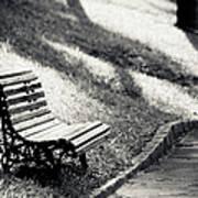 Empty Park Bench On Edge Print by (c) Conrado Tramontini
