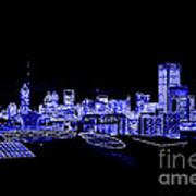 Energetic Atlanta Skyline - Digital Art Art Print
