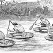 England: Coracle Race, 1881 Art Print