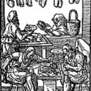 Engraving Of Cobblers Making Leather Shoes. Art Print