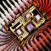 Enhanced Macrophoto Of A Hybrid Integrated Circuit Art Print