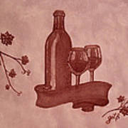 Enjoying Red Wine  Painting With Red Wine Art Print